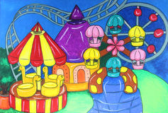 Amusement park painting Stock Photo
