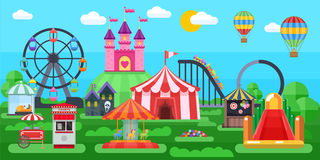 Amusement Park Panorama vector illustration