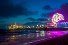 Amusement park on the pier in Santa Monica at night, Los Angeles, California, USA. Amusement park on the pier in Santa Monica at night, Los Angeles, California Stock Photo