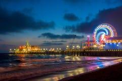 Amusement park on the pier in Santa Monica at night, Los Angeles, California, USA Royalty Free Stock Photos