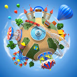 Amusement park planet. Round amusement park over sky background - 3D illustration vector illustration