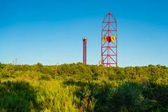 Amusement Park Port Aventura with the sign Ferrari on a tower