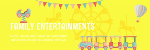 Amusement park poster. Bright amusement park poster with kids rides - car, hot air balloon, ferris wheel, carousel with horses, train and flags. Vector stock illustration