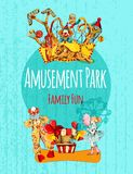 Amusement Park Poster. Amusement park circus festival family fun hand drawn poster vector illustration Royalty Free Stock Images