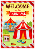 Amusement Park Poster. With circus tent and carousel on natural landscape background with striped substrate vector illustration Stock Images