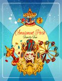 Amusement Park Poster. Amusement park family fun hand drawn poster with thrill attraction and rollercoasters vector illustration Royalty Free Stock Photos