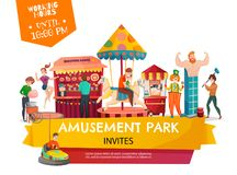 Amusement Park Poster. People in amusement park poster with carousel shooting range cartoon circus tent clown cartoon icons vector Illustration royalty free illustration