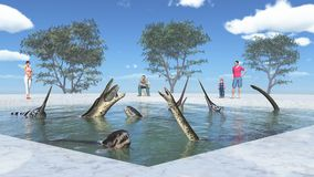 Amusement park with prehistoric marine reptiles. Computer generated 3D illustration with prehistoric marine reptiles in a water pool Royalty Free Stock Images