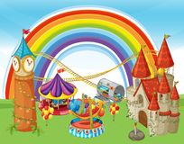 An Amusement Park and Rainbow. Illustration stock illustration