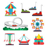 Amusement Park Ride. Set of Attractions. Vector Royalty Free Stock Photo