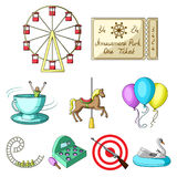 The amusement Park rides. The attributes of a recreational Park, panic room, cotton candy.Amusement Park icon in set. Collection on cartoon style vector symbol Royalty Free Stock Photo