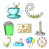 The amusement Park rides. The attributes of a recreational Park, panic room, cotton candy.Amusement Park icon in set. Collection on cartoon style vector symbol Royalty Free Stock Photos
