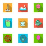 The amusement Park rides. The attributes of a recreational Park, panic room, cotton candy.Amusement Park icon in set. Collection on flat style vector symbol Royalty Free Stock Photography