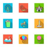 The amusement Park rides. The attributes of a recreational Park, panic room, cotton candy.Amusement Park icon in set. Collection on flat style vector symbol Stock Images
