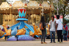 Amusement park with rides like carousal Stock Photography