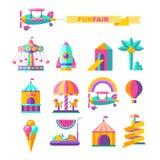 Amusement Park, rides. Vector illustration stock illustration