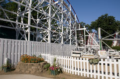 Amusement Park Roller Coaster. In Iowa During Summer Royalty Free Stock Image