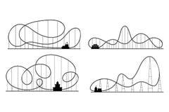 Amusement Park Roller Coaster Black Silhouettes Set. Vector Royalty Free Stock Image