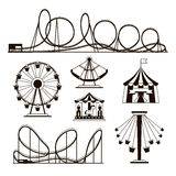 Amusement park, roller coasters and carousel vector icons Stock Images