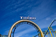 Amusement park rollercoaster on Brighton pier with seagull Stock Image
