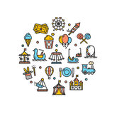 Amusement Park Round Design Template Thin Line Icon. Vector Royalty Free Stock Photography