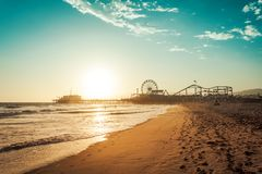 Amusement park in Santa Monica in sunset light Royalty Free Stock Photos