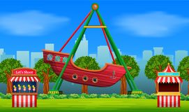 Amusement park scene at daytime. Illustration of Amusement park scene at daytime royalty free illustration