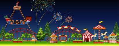 Amusement park scene at night royalty free illustration