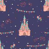 Amusement park seamless pattern royalty free illustration