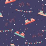 Amusement park seamless pattern. With bumper cars and fireworks. Vector illustration Stock Image