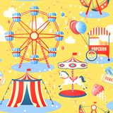 Amusement park seamless pattern. Amusement entertainment park seamless pattern with ferris wheel ice cream popcorn vector illustration Stock Images