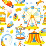 Amusement park seamless pattern. Amusement entertainment park seamless pattern with tent cars rides vector illustration Stock Image