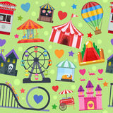 Amusement Park Seamless Pattern. With extreme attractions castle haunted house dart game on green background vector illustration Royalty Free Stock Photo