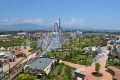 Amusement park seen from above Stock Photo