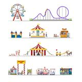 Amusement park set with circus tent and carousels. Amusement park set with circus tent, carousels and clowns. Children and their parents have fun in the park vector illustration