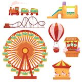 Amusement park set, cartoon vector illustration. Amusement park set - Ferris wheel, carousel, rollercoaster, train, balloon, bouncy castle, shooting gallery stock illustration