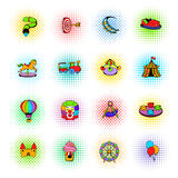 Amusement park set icons, comics style Stock Photos