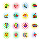 Amusement park set icons, comics style. Amusement park set icons in comics style on a white background Stock Image