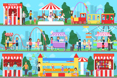 Amusement park set. Illustrations of carousels, tents and fair Royalty Free Stock Photos