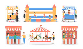 Amusement park set. Illustrations of carousels, tents and fair on white background Stock Photos