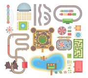 Amusement park - set of modern vector isolated objects. On white background for creating your own images. Top view position of carousels, attractions stock illustration
