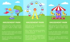 Amusement Park Set of Posters with Ferris Wheel. Amusement park set of posters with text and ferris wheel, rotating horses, rocket on spin on green lawn vector Stock Photography