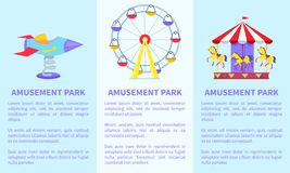 Amusement Park Set of Posters with Ferris Wheel. Posters with text and ferris wheel, rotating horses, rocket on spin on green lawn vector illustration Royalty Free Stock Photography