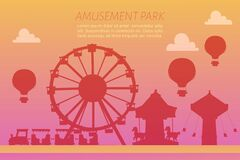 Amusement park silhoettes on gradient background vector illustration. Carousels. Slides and swings, ferris wheel