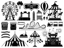 Amusement park silhouette. Carnival parks carousel attraction, fun rollercoaster and ferris wheel attractions vector. Amusement park silhouette. Carnival parks vector illustration