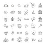 Amusement park sings set. Thin line art icons. Linear style illustrations isolated on white Royalty Free Stock Images