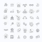 Amusement park sings set. Thin line art icons. Linear style Stock Images