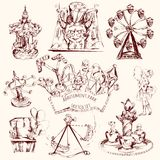 Amusement Park Sketch. Amusement park carnival attractions sketch decorative icons set isolated vector illustration Stock Image