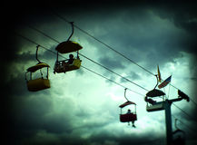 Amusement Park Sky Lift Ride in Storm Royalty Free Stock Photography