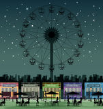 Amusement park. Store in an amusement park against a backdrop of the night sky Royalty Free Stock Photography